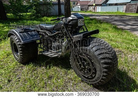 Novosibirsk/ Russia - May 12, 2020, Black Homemade Swamp Buggy, Front View,  For Off-road Driving On