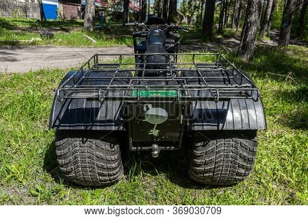 Novosibirsk/ Russia - May 12, 2020, Black Homemade Swamp Buggy, Back View,  For Off-road Driving On
