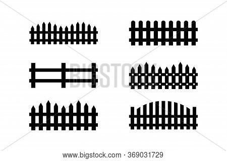 Fence Icon Set . Editable Icons. Rural Wooden Fences, Pickets Vector. Different Garden Fences Vector