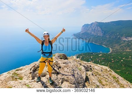 Happy Young Woman Stand On Mount Top. Amazing Sea Landscape. Family Travel Adventure, Hiking Activit