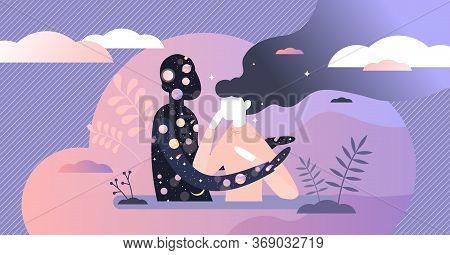 Universe Hug Vector Illustration. Abstract Spiritual Flat Tiny Person Concept. Symbolic Esoteric Vis