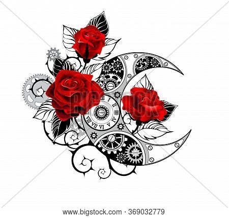 Contour, Mechanical Crescent Moon With Gears, Decorated With Red Roses With Black Spiked Stems And L