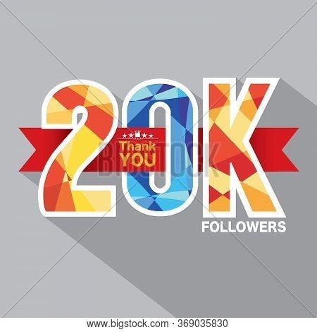 20k Followers Banner For Celebrating Followers Social Media Networks Vector Illustration. Eps 10