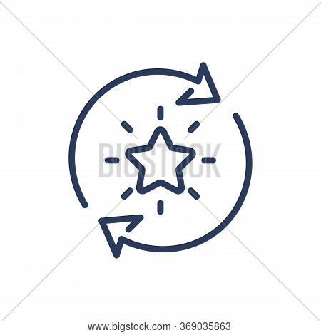 Bonus Points Exchange Thin Line Icon. Star In Rotation Arrow Circle Isolated Outline Sign. Loyalty P
