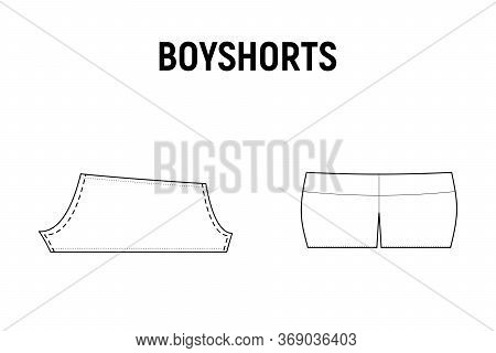 Boyshorts Panties For Woman. Underwear Vector Pattern For Tailor. Technical Design Illustration And