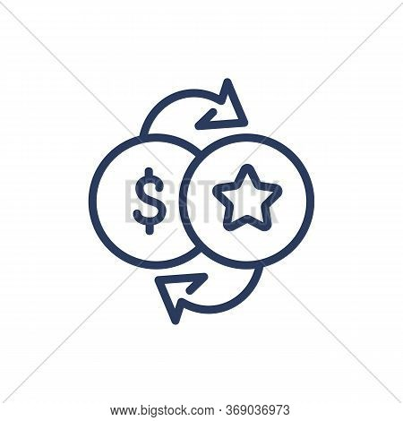 Bonus For Purchase Thin Line Icon. Cash And Star Exchange, Reward For Spending Money Isolated Outlin