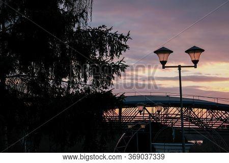 Street Candelabra Lantern Light In The Sunset.