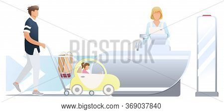 Shopping In Store. Male Customer And His Dother With Trolley, Stand Near Cashier Desk With Female Ca