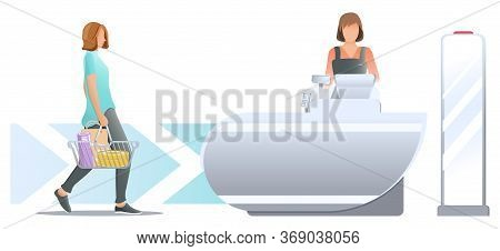 Shopping In Store. Woman Customer With Shopping Cart And Paper Bag In It, Stand Near Cashier Desk Wi