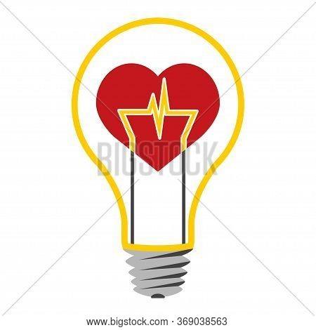Heartbeat With Electrocardiogram Inside A Light Bulb