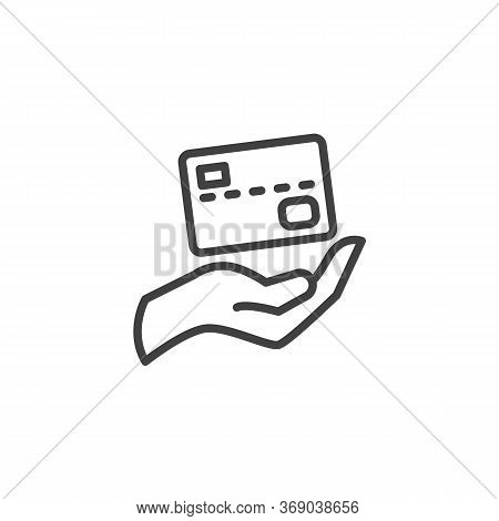 Credit Card Payment Line Icon. Linear Style Sign For Mobile Concept And Web Design. Hand And Credit