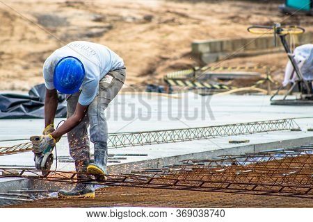 Bahia, Brazil, August 22, 2013, Construction Worker Performs The Construction Of The Factory Shed, O