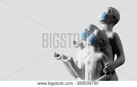 Ancient human statue wearing face mask against coronavirus COVID-19. 3D illustration