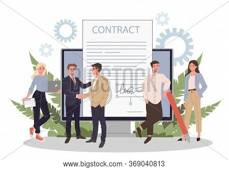 Business People Signing Contract With Electronic Signature Illustration. Employees Achieving Formal