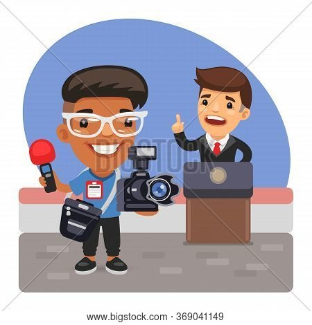 A Cartoon Photojournalist Makes Photo Report On Politician Speech. Composition With A Professional M