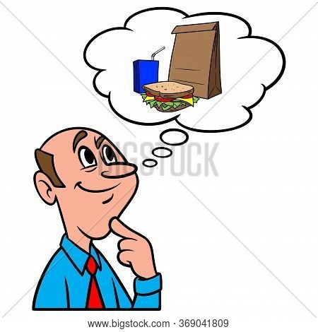 Thinking About Lunch - A Cartoon Illustration Of A Man Thinking About A Sack Lunch.
