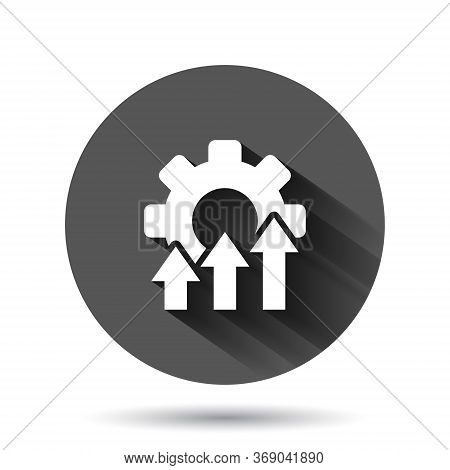 Improvement Icon In Flat Style. Gear Project Vector Illustration On Black Round Background With Long