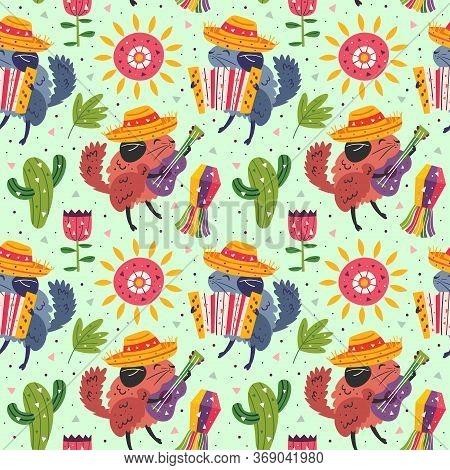 Mexico Holiday. Little Cute Chinchillas In Sombrero With Maracas, Accordion, Cactus, Pinata, Sun And