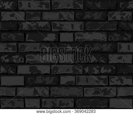 Realistic Vector Brick Wall Seamless Pattern. Flat Wall Texture. Black Textured Brick Background For