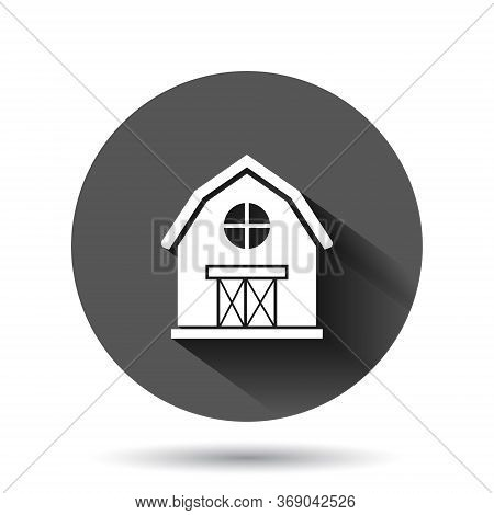Barn Icon In Flat Style. Farm House Vector Illustration On Black Round Background With Long Shadow E