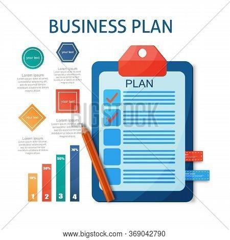 Flat Modern Design Concept Of Business Planning, Management, Job Organization With Plan. Vector Illu