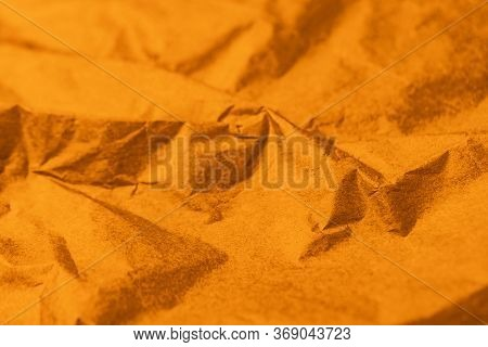Crumpled Brown Bronze Ochre Paper, Texture Abstract Background
