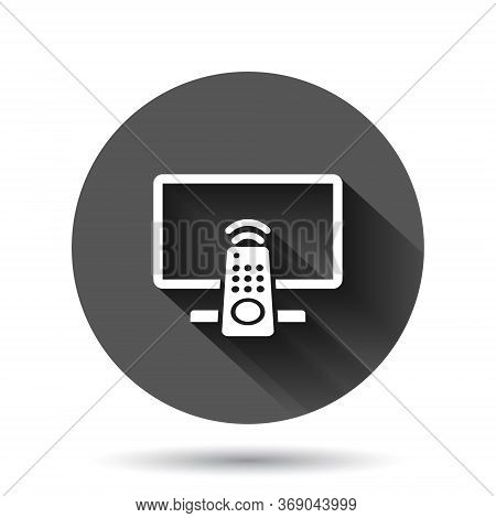 Tv Remote Icon In Flat Style. Television Sign Vector Illustration On Black Round Background With Lon