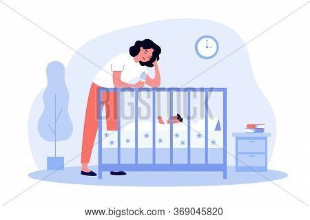 Depressed Tired Mom Giving Bottle To Baby. Sad Sleepy New Mother Leaning On Crib To Feed Newborn Chi