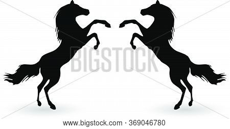 Black Horses Outline Vector Illustration. Horses Logo Conceptual Icons Isolated Over White Backgroun