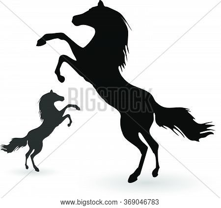 Black Horses Outline Vector Illustration. Horses Logo Conceptual Icon Isolated Over White Background