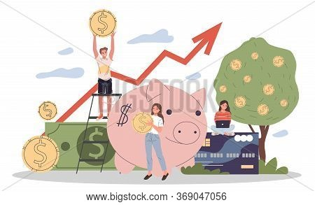 Business People Investing Into High Potential Project Illustration. People Taking Online Credit. Mod