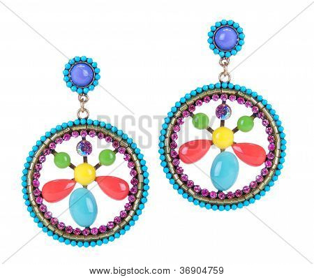 Modern Home Earrings With Colored Stones