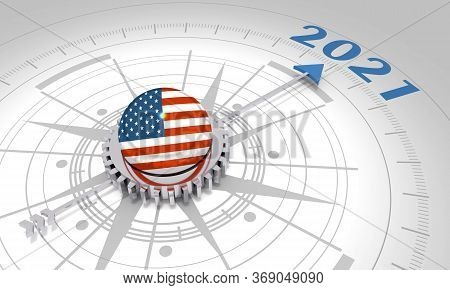 New Year Greeting Card Template. 2021 Year Number. 3d Rendering. Flag Of The Usa