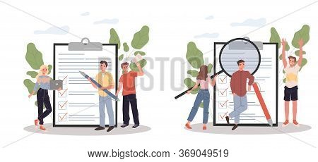 Marketing Group Analyzing Clients Feedback. Survey Form, Magnifying Glass, Team Flat Illustration. C