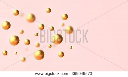 Minimal Composition Where Golden 3d Balls Soar In Space Opposite The Pink Background.