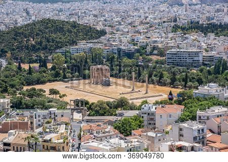Olympian Zeus Temple In Athens, View From Acropolis Hill. Attica, Greece