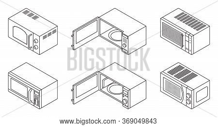 Microwave Vector Line Set Icon. Vector Illustration Kitchen Oven On White Background. Isolated Line