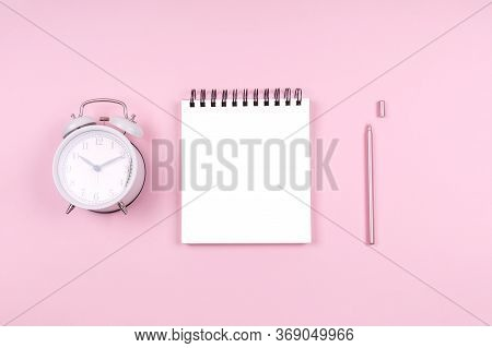 Note Pad With Clock And Stylish Pen. Beauty Time, Selfcare And Beauty Log, Feminine Time Management
