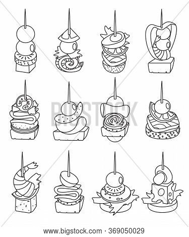 Canape Of Food Vector Illustration On White Background. Isolated Line Set Icon Appetizer. Vector Lin