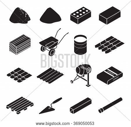 Construction Material Black Set Icon. Vector Illustration Building Material On White Background . Is