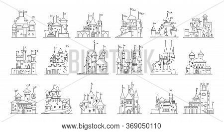Medieval Castle Isolated Line Set Icon. Vector Illustration Ancient Palace On White Background. Vect
