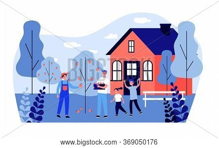 Happy Family Picking Apples. Country House, Tree, Garden Flat Vector Illustration. Harvest, Orchard,