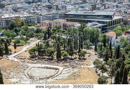 Acropolis Museum And Ancient Theatre Of Dionysus Aerial Birds Eye View, Athens, Greece