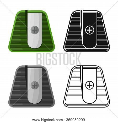 Isolated Object Of Sharpener And Sharpen Symbol. Graphic Of Sharpener And Green Stock Symbol For Web