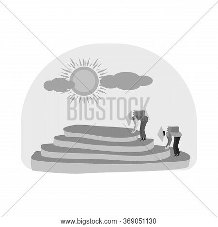 Vector Illustration Of Rice And Field Sign. Collection Of Rice And Terrace Stock Symbol For Web.