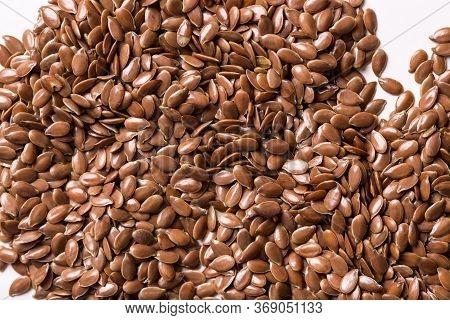 Flax Seeds Close-up. Flax Seed Texture Macro