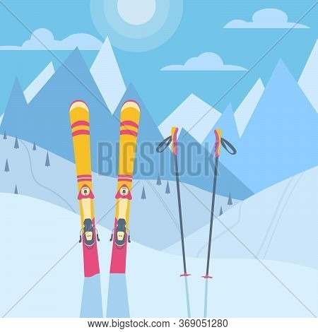 Modern Colorful Skis Equipment Against Backdrop Of Snowy Mountains And Hills. Ski Winter Resort Post