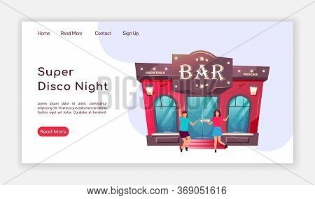 Super Disco Night Landing Page Flat Color Vector Template. Local Bar Homepage Layout. Nightclub One