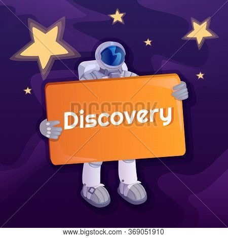 Discovery Social Media Post Mockup. Solemn Phrase. Web Banner Design Template. Spaceman With Banner