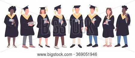College Graduates Flat Color Vector Faceless Characters Set. Girls And Boys In Bachelor Caps Isolate